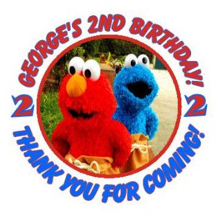 Personalised Elmo and Cookie Monster Party Stickers